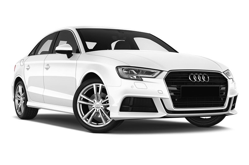 audi a3 saloon front angle white