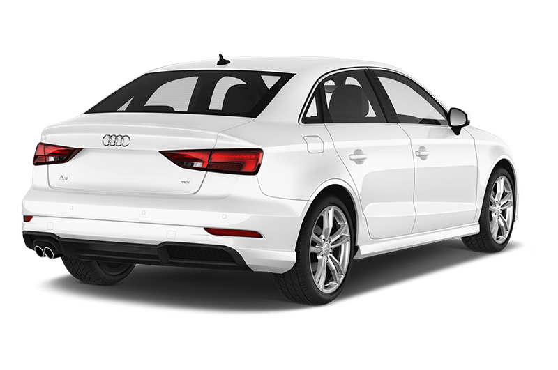 audi a3 saloon rear angle white