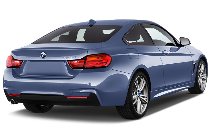 bmw 4 series coupe rear angle blue