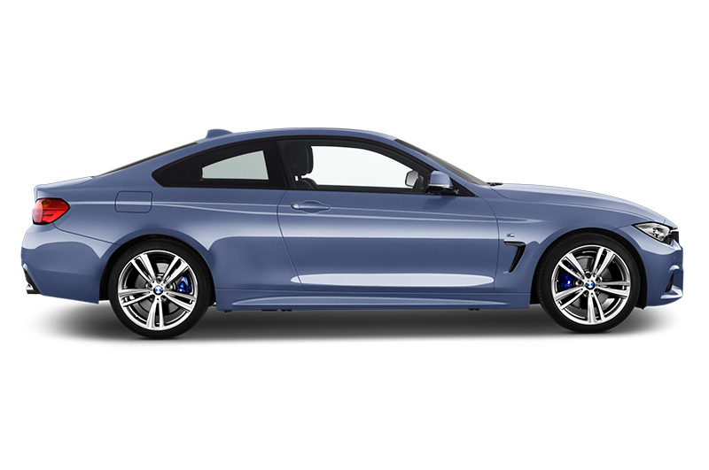 bmw 4 series coupe side view blue