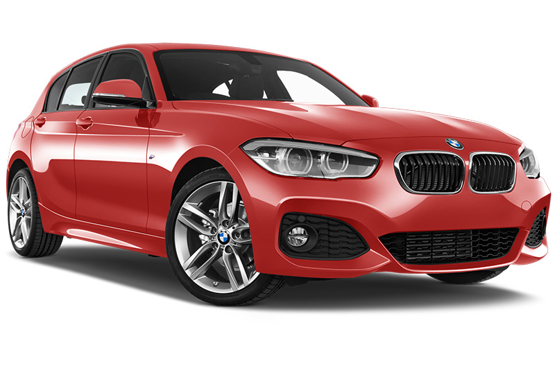 BMW 1 Series front angle in Melbourne red