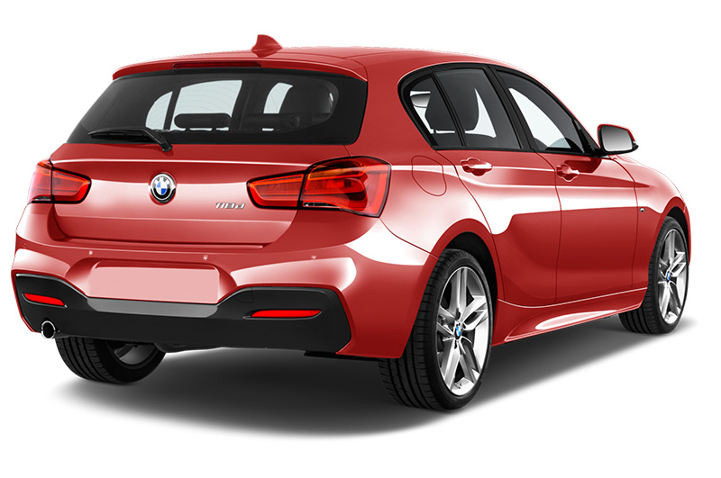 BMW 1 Series rear angle in Melbourne red