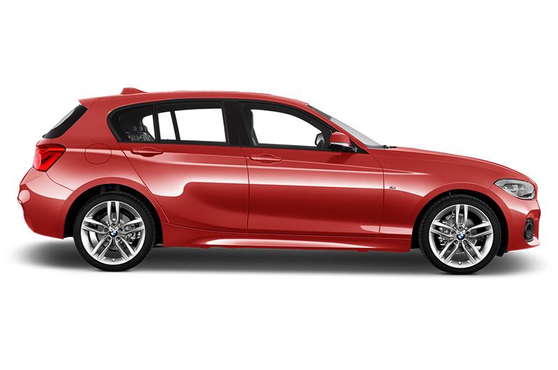 BMW 1 Series side view in Melbourne red