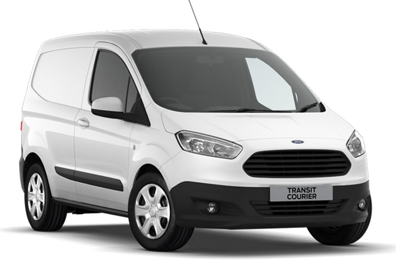 The Ford Transit Courier viewed from the front in frozen white