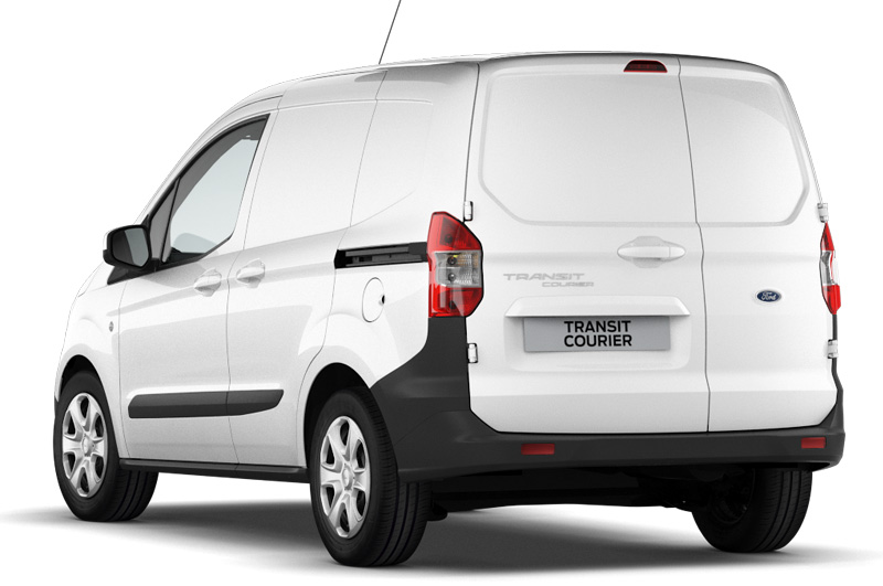 The Ford Transit Courier viewed from the back in frozen white