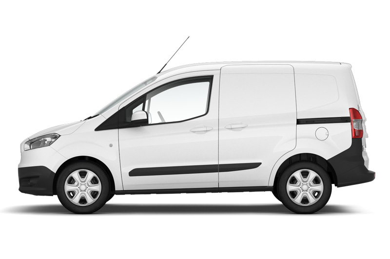 The Ford Transit Courier viewed from the side in frozen white