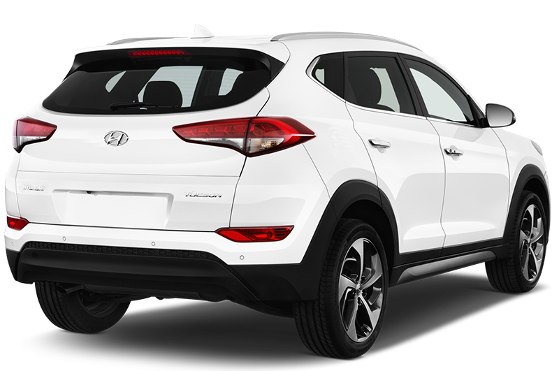 hyundai tucson company car rear angle view