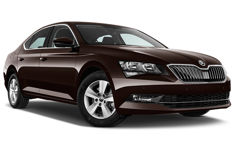 skoda superb front angle dark brown