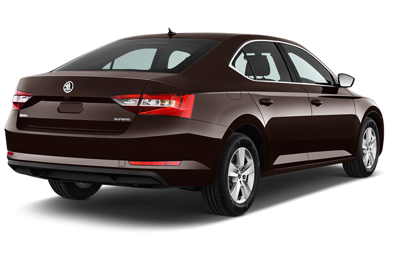 skoda superb rear angle dark brown