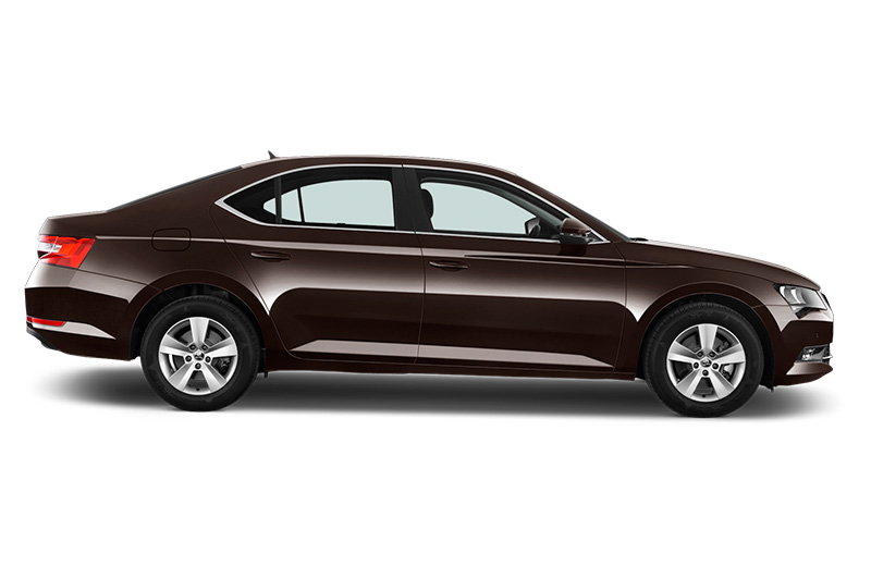skoda superb side view dark brown