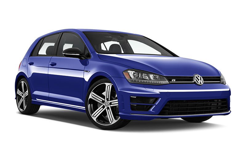 volkswagen golf r front angle lapis blue